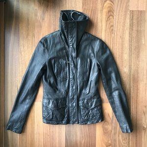 Vince distressed black leather scuba jacket XS
